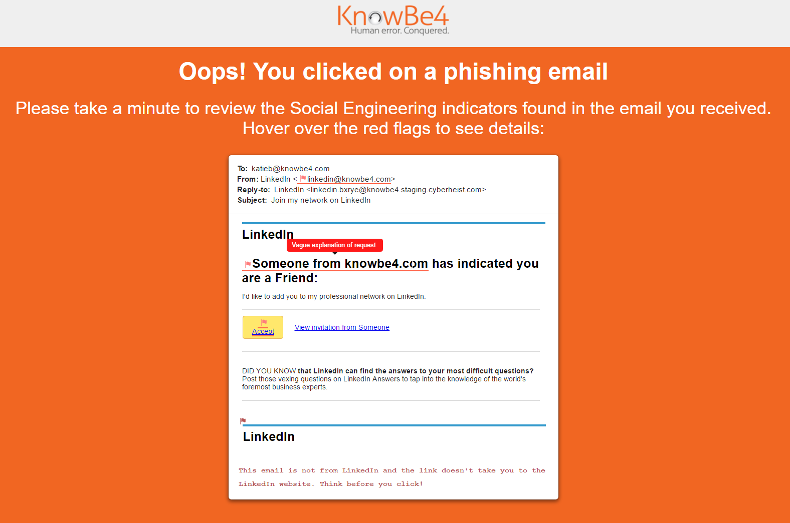 Social Engineering Indicators SEI Knowledge Base - Sample landing page template