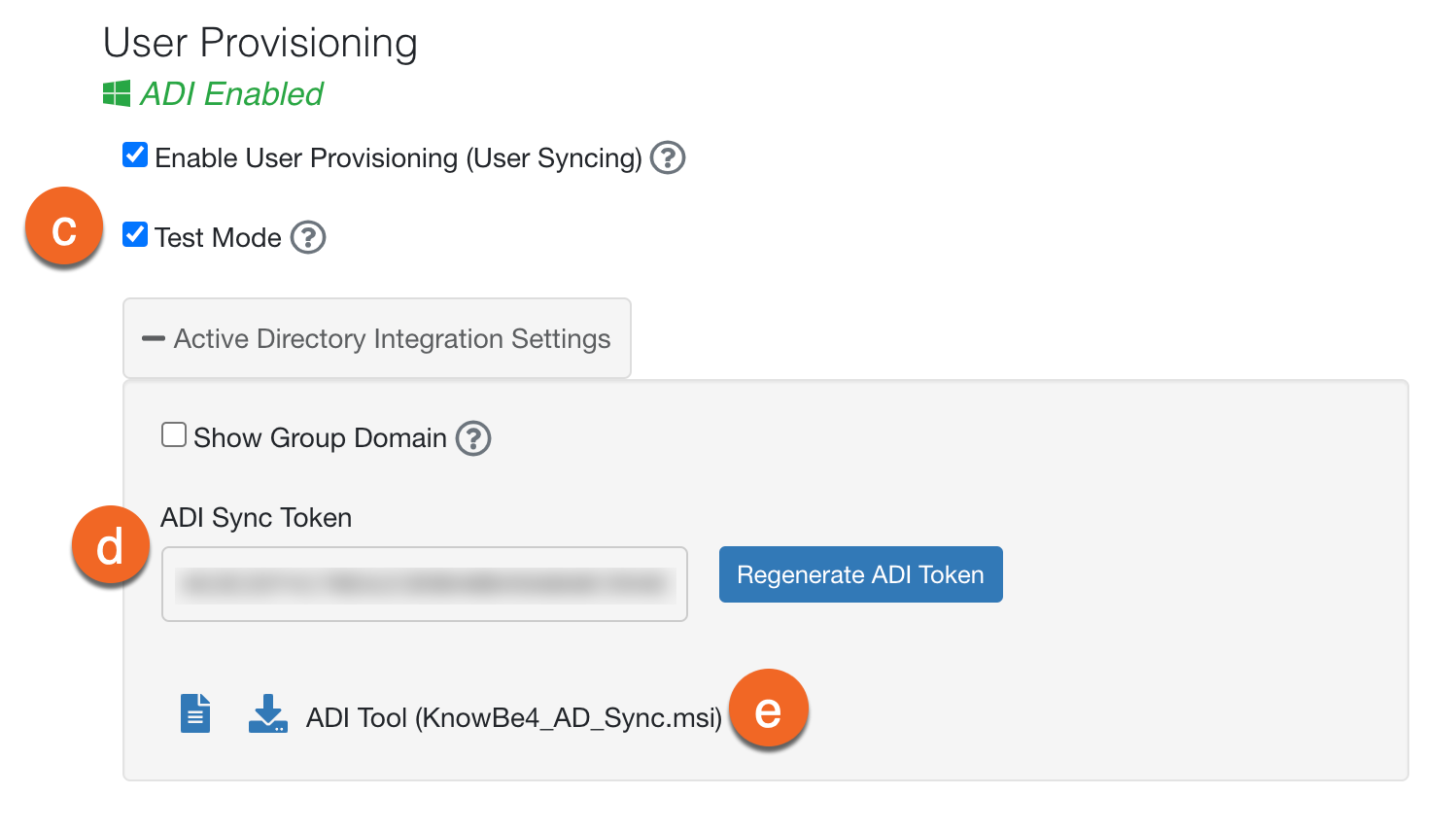 Account Settings area, showing the following: Test Mode, ADI Sync Token, and ADI Tool.