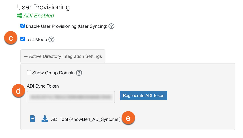 Área Configurações da conta, que mostra o seguinte: Modo de teste, Token de sincronização para ADI e Ferramenta ADI.