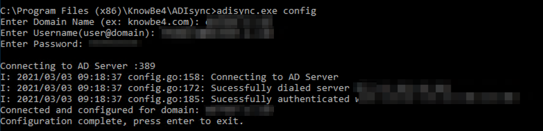 Command prompt showing: Configuration complete, press enter to exit.