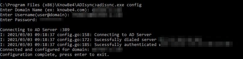 Símbolo del sistema que muestra: «Configuration complete, press enter to exit» (Configuración completa, pulse Entrar para salir).