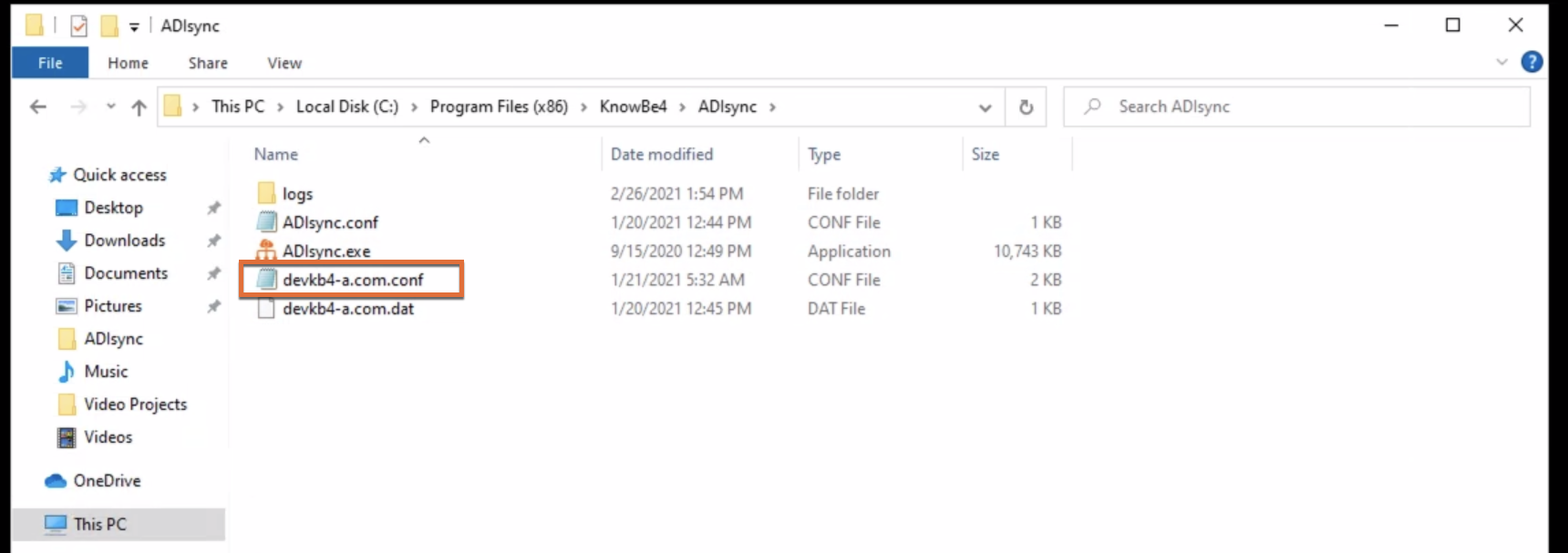 The ADI sync tool installation directory with the domain.conf file highlighted