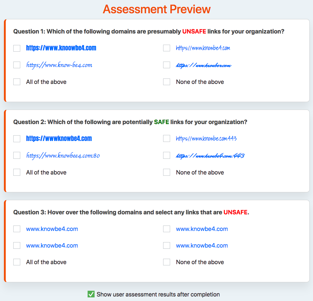 User Assessment Preview