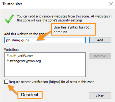 how to whitelist all websites