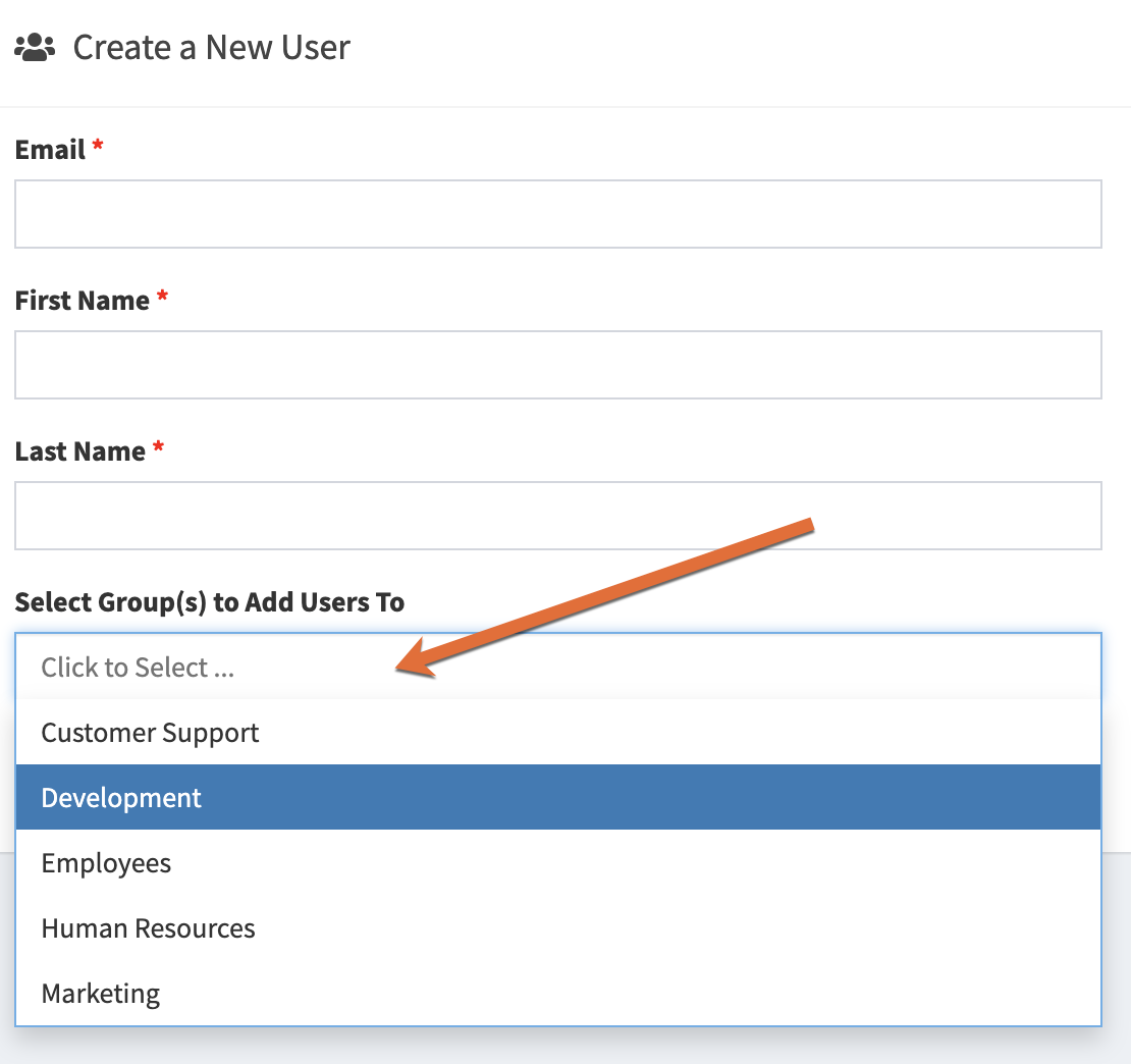 Create A New User page with an arrow pointing to the Select Group(s) to Add Users To drop-down menu