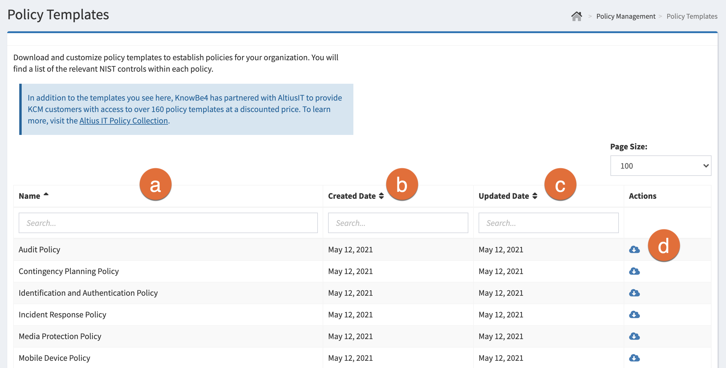 The Policy Templates page in KCM GRC.