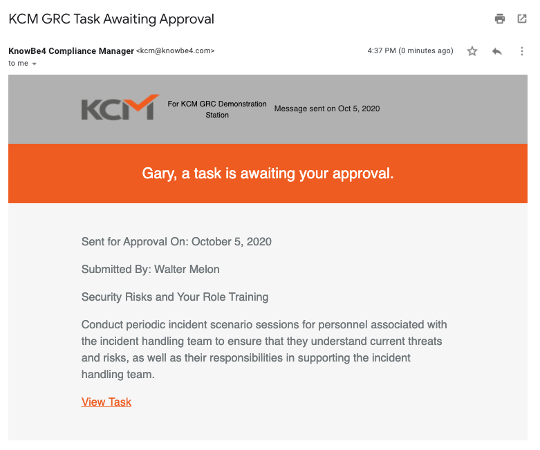 Example of the Task Awaiting Approval email
