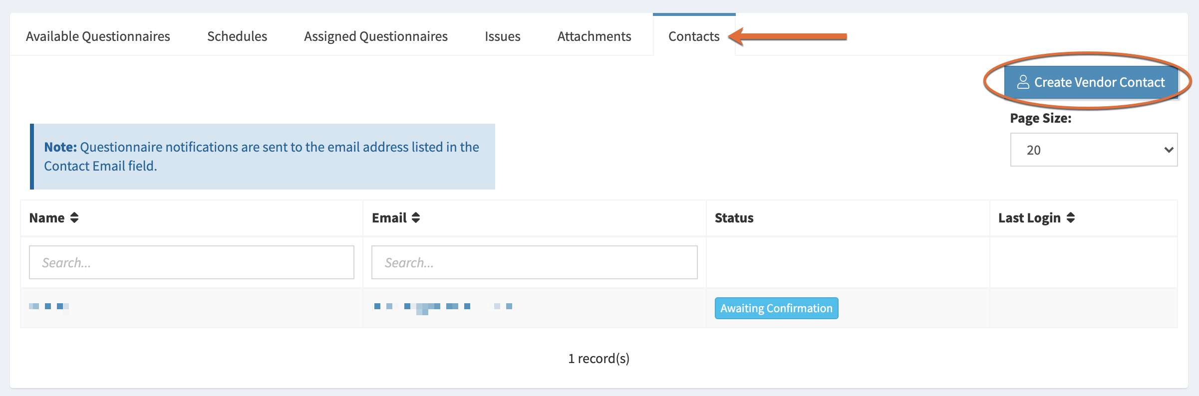 Image of the Contacts tab on the Vendor Details page, with a circle around the Create Vendor Contact tab.