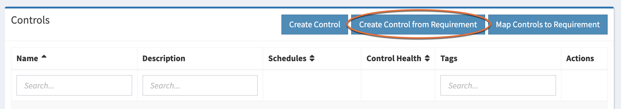 Create Control from Requirement button