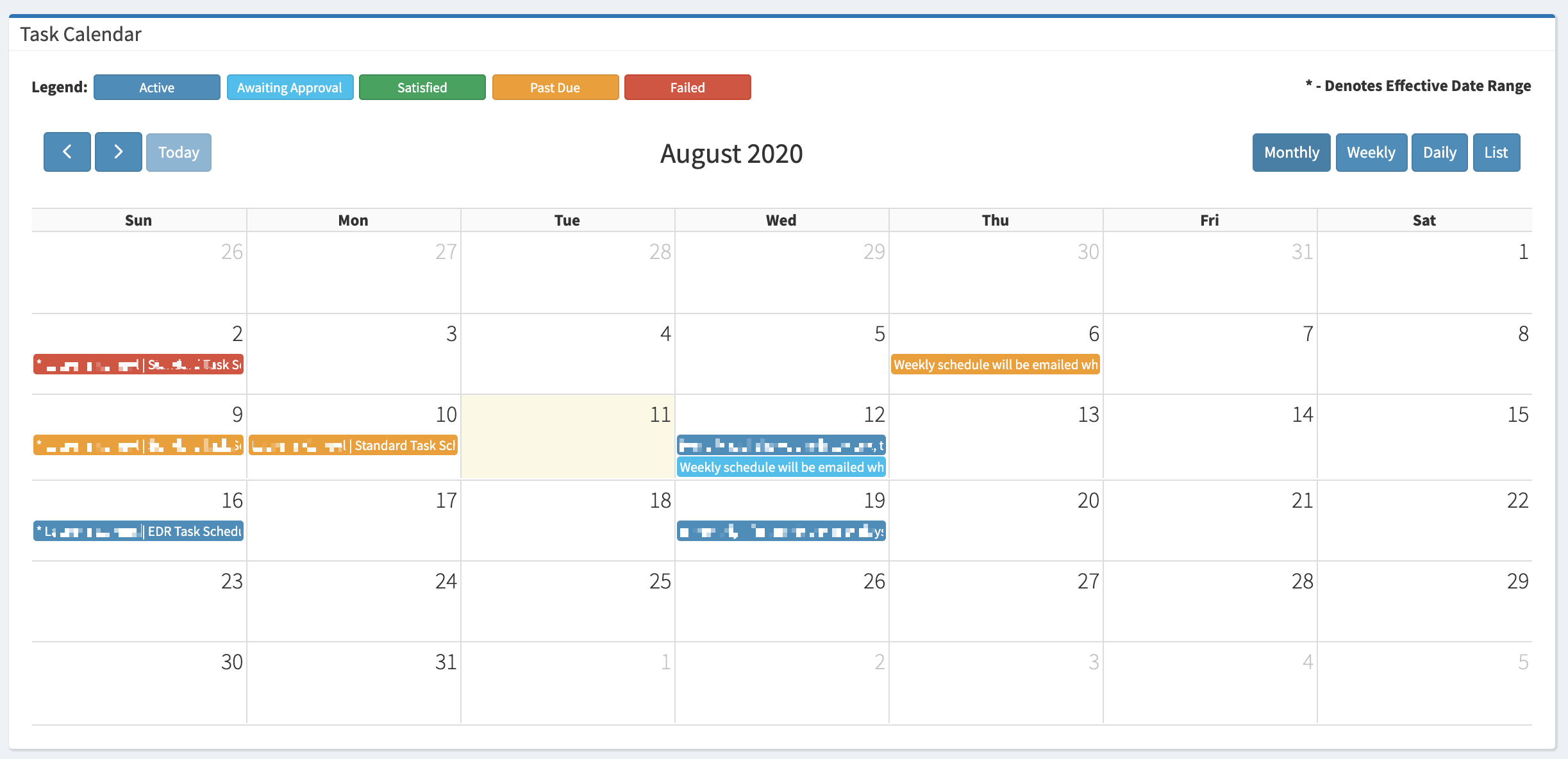 The Task Calendar on the My Dashboard page.