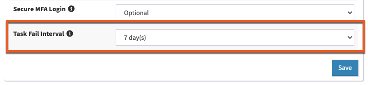Image showing the Task Fail Interval setting under your Account Settings page.