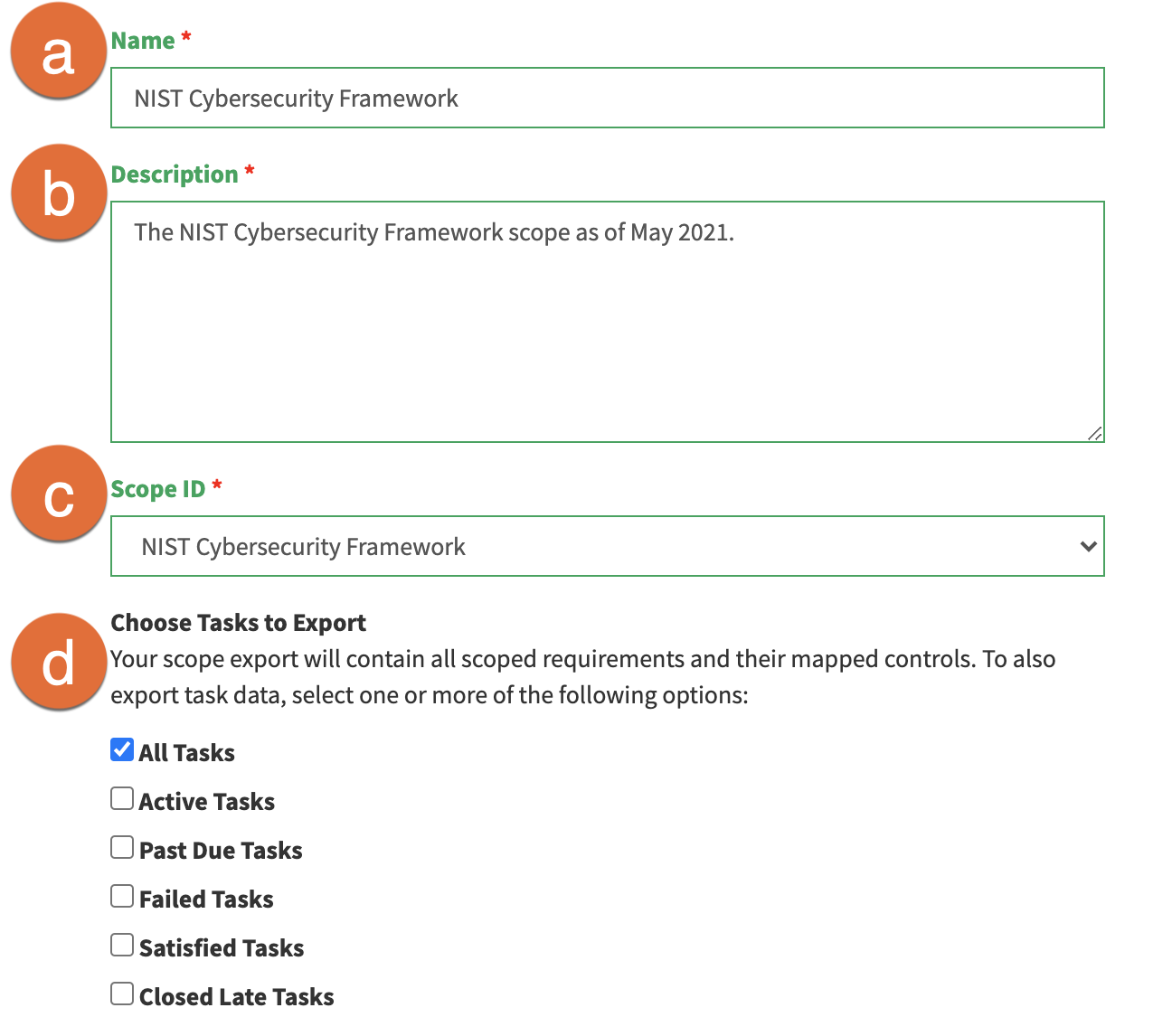 The Export a Scope page with Name, Description, Scope ID, and Choose Tasks to Export fields.