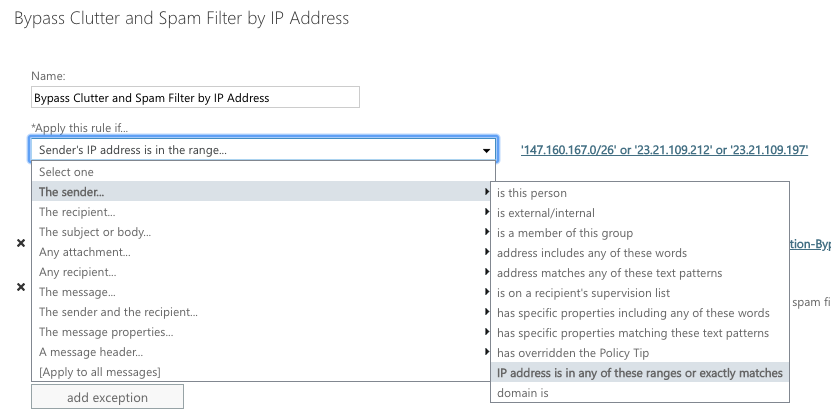 Whitelisting by IP Address in Exchange 2013, 2016, or Office