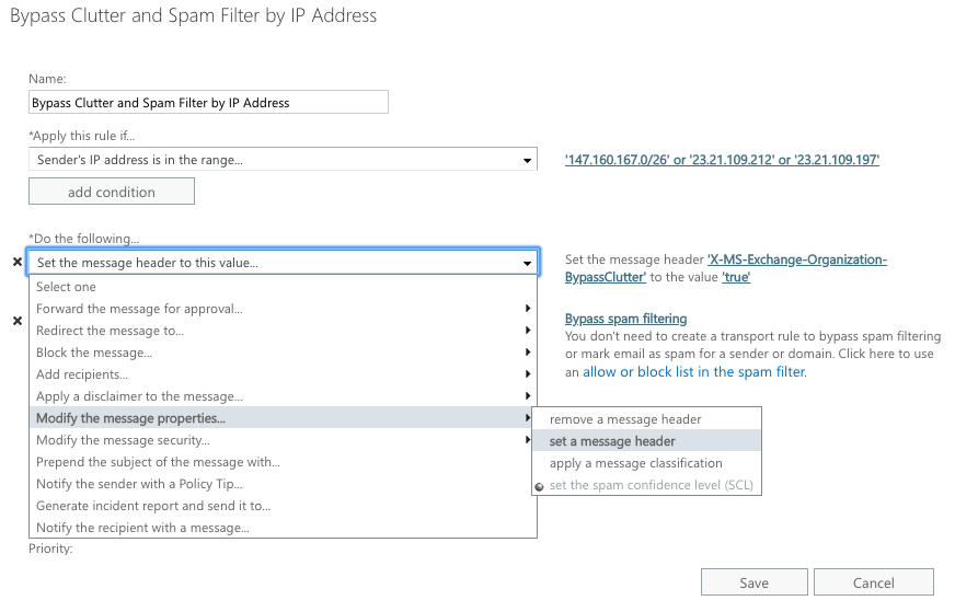 Whitelisting by IP Address in Exchange 2013, 2016, or Office 365