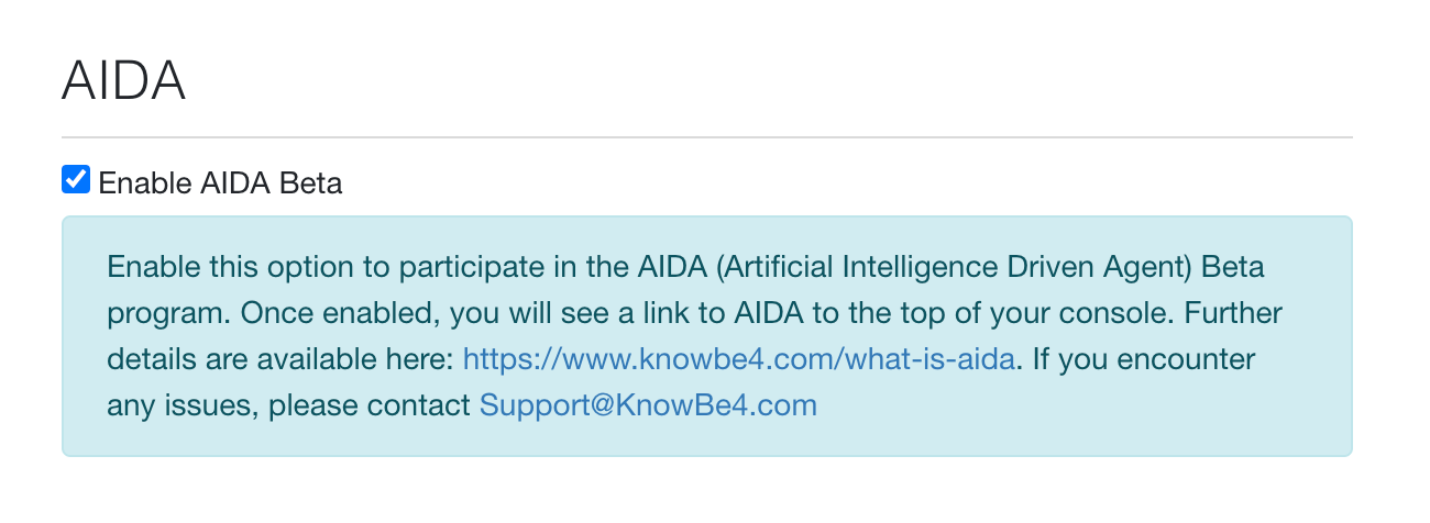 AIDA - Artificial Intelligence Driven Agent – Knowledge Base